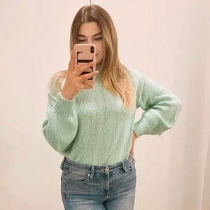 🌼 ABOUND MINT GREEN MOCK NECK PULLOVER SWEATER